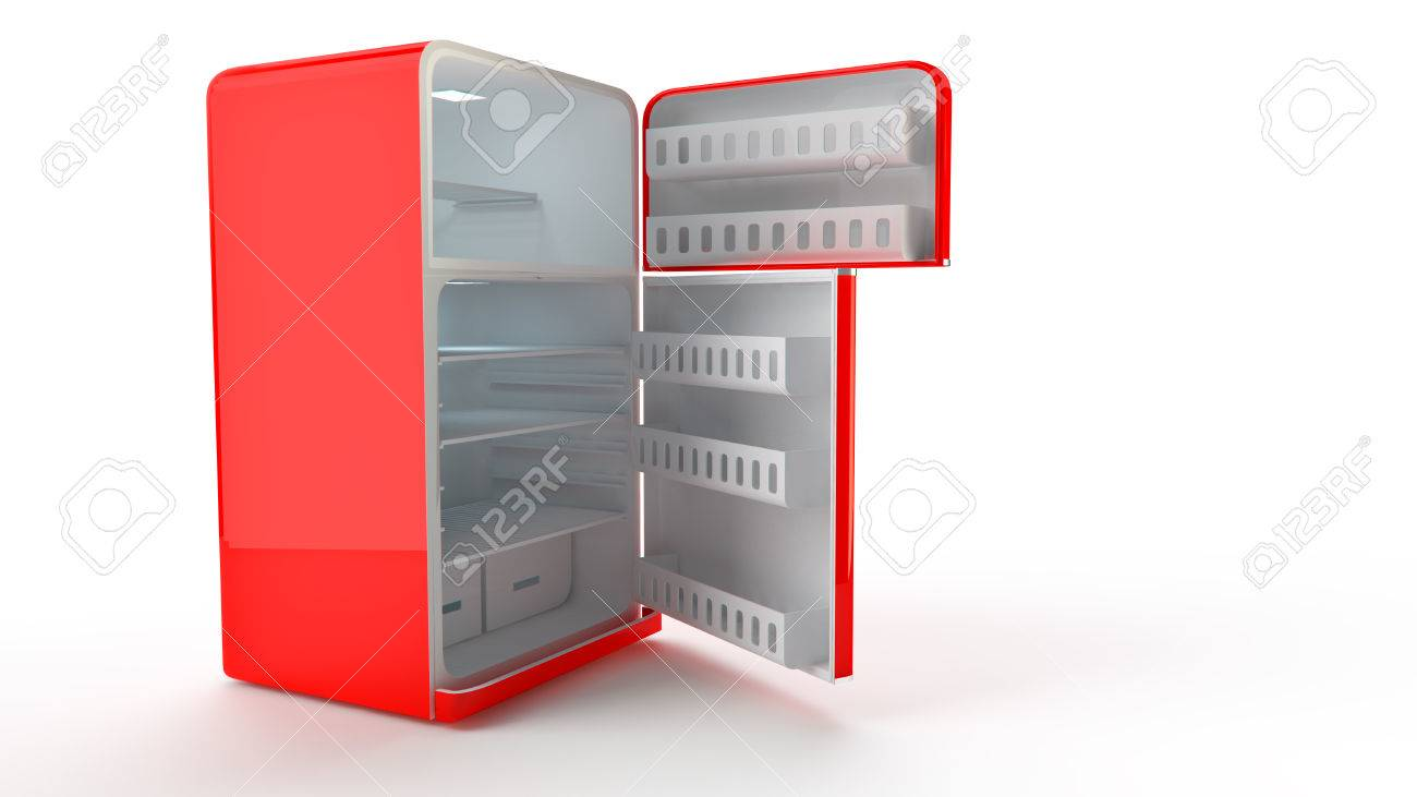 Vintage Kühlschrank Klein : Geöffnet retro kühlschrank kühlschrank in rot retro farben