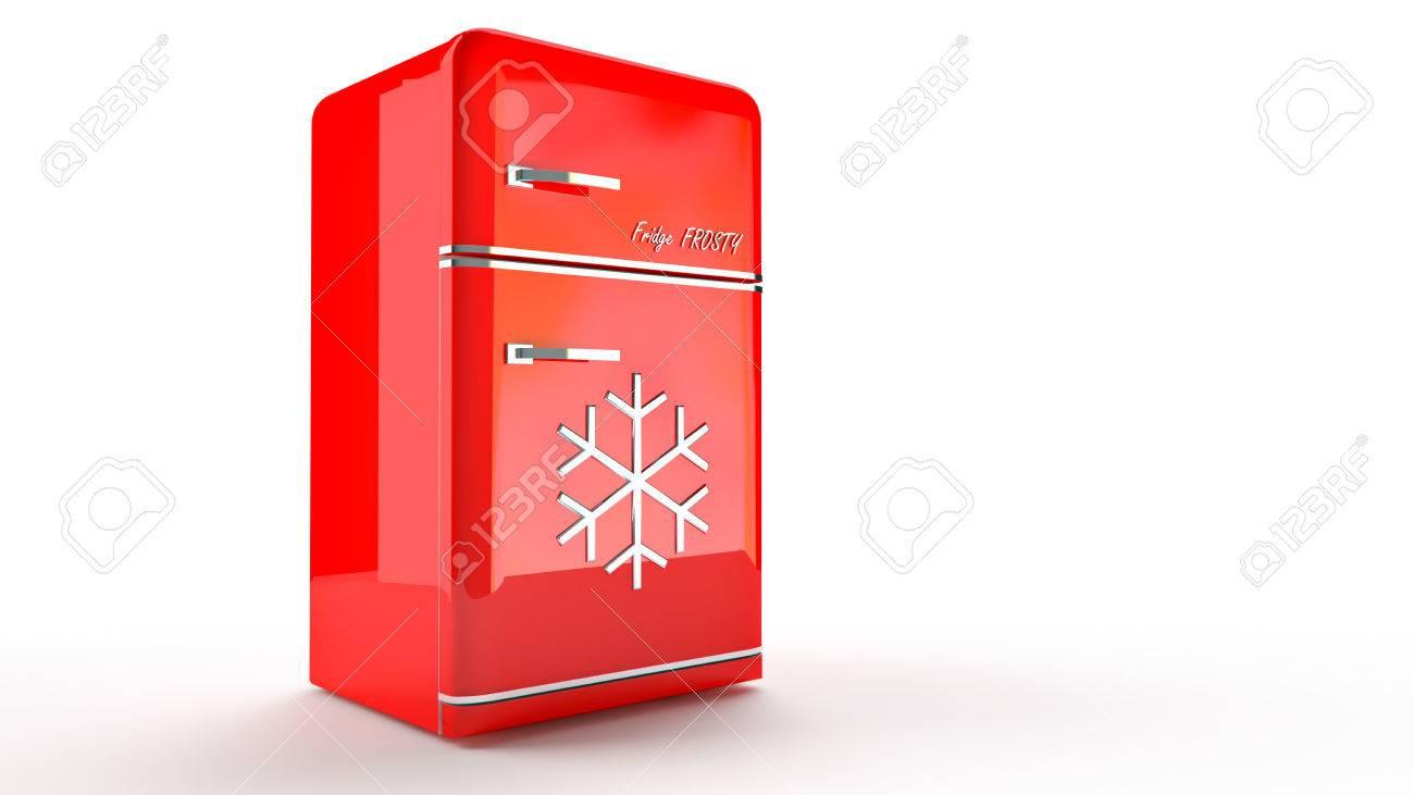Réfrigérateur Rétro Frigo Dans Le Rétro Couleur Rouge. Banque D
