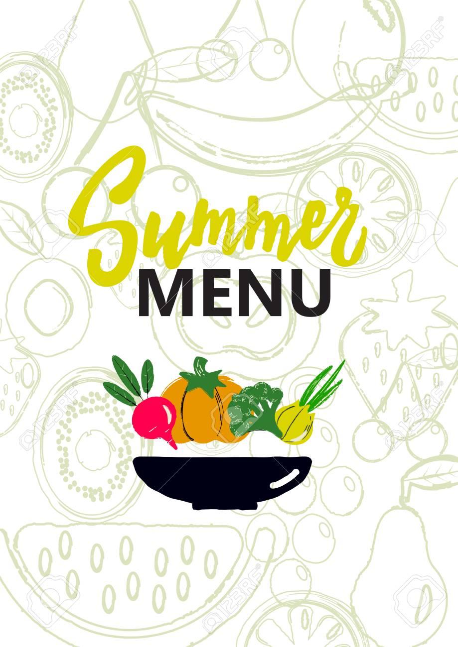 summer menu cover. design concept for smoothie bar, veggie cafe