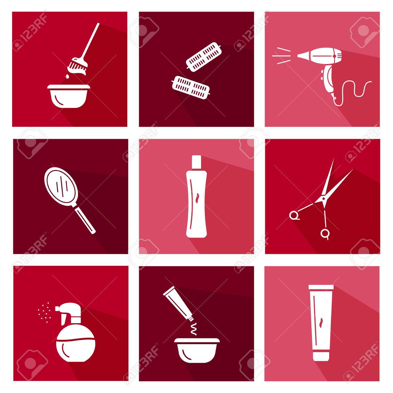Hair Salon Tools Flat Icons Co Ection Illustration Of Different