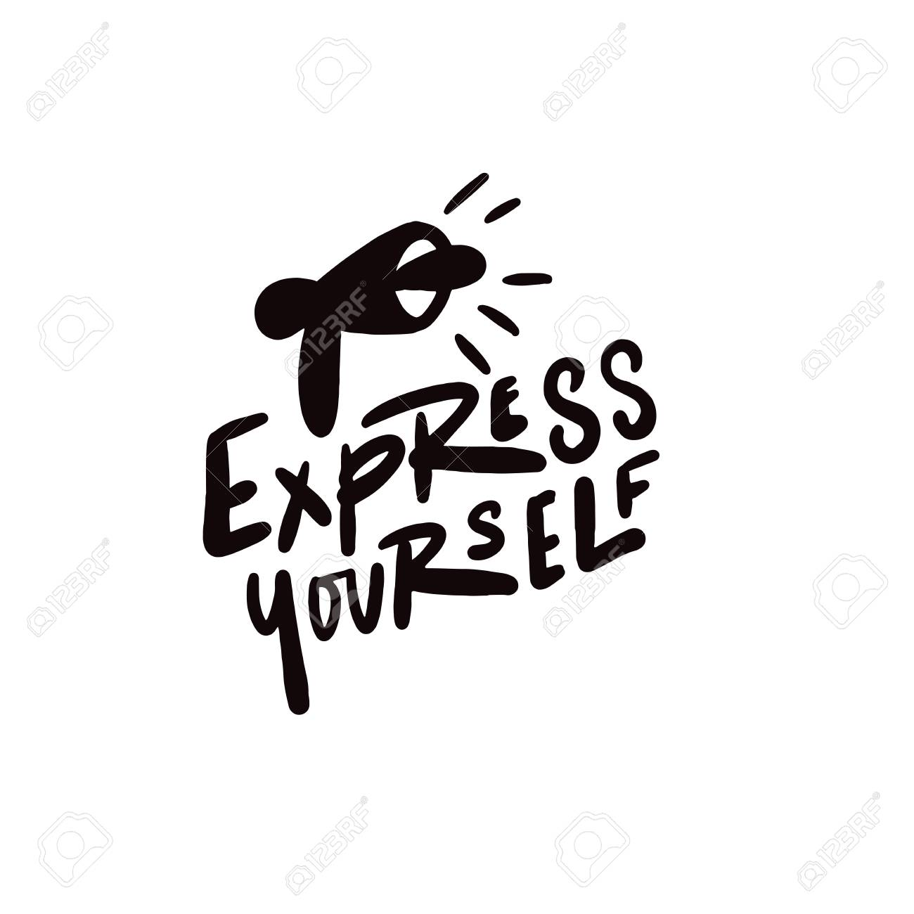 Express yourself. Hand written lettering. Vector design. Illustration of speaking trumpet. - 109881280