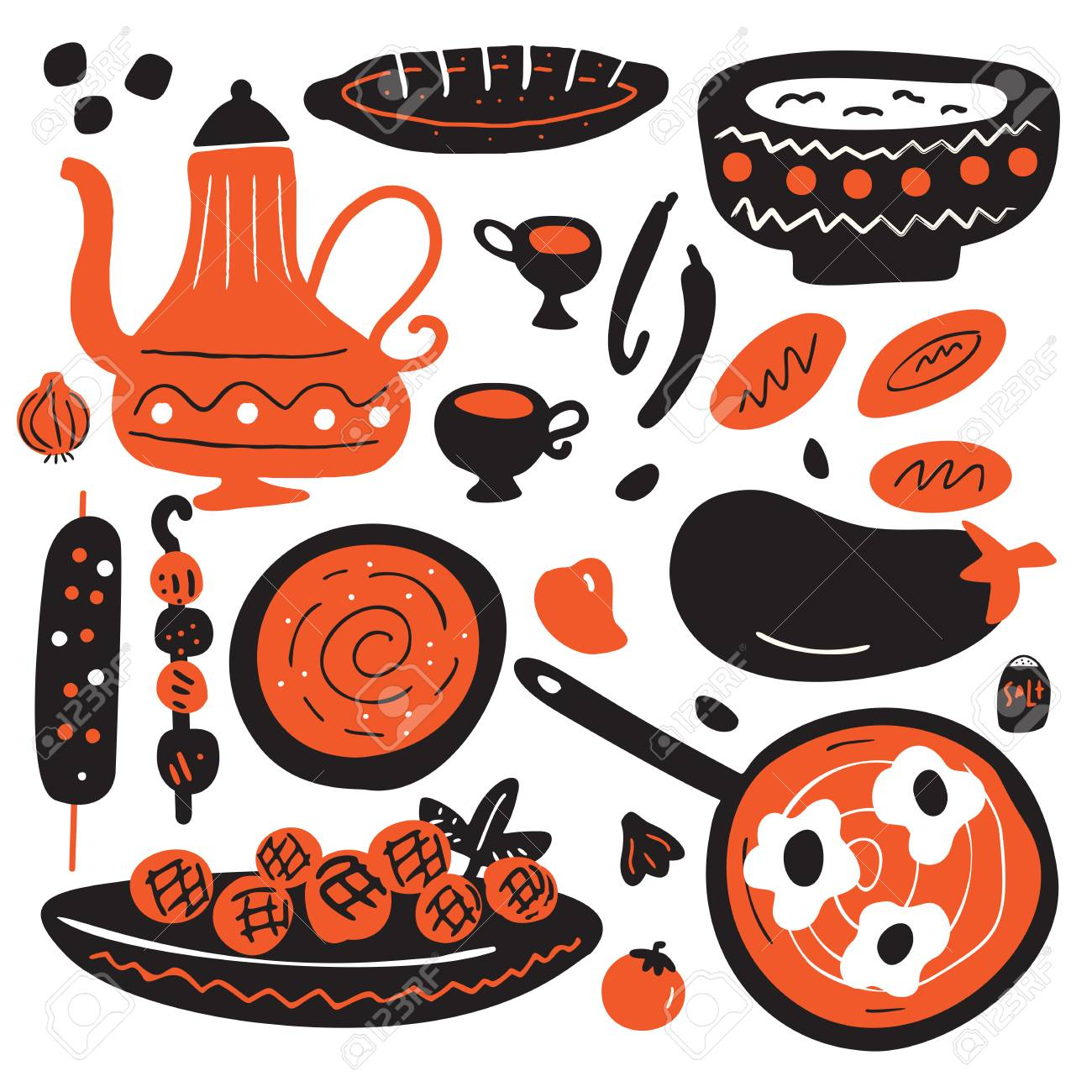 Funny hand drawn illustration of traditional middle eastern cuisine. Isolated on white background. Vector design. - 126828450