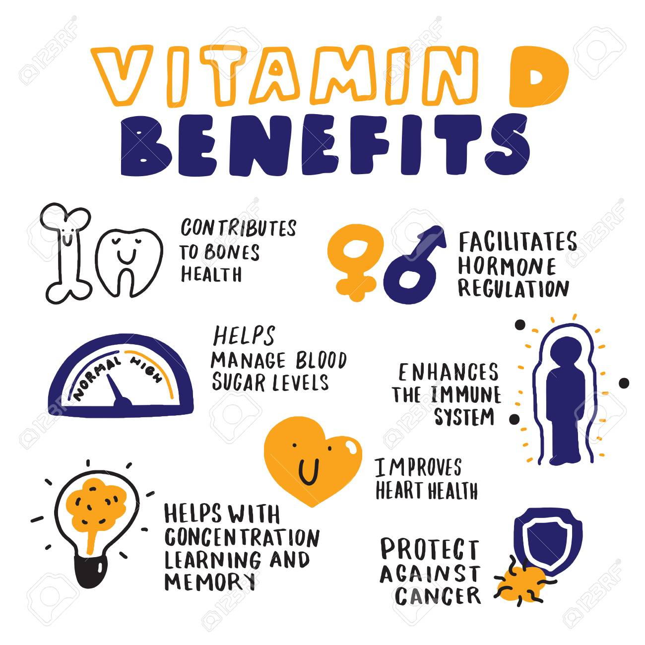 Vitamin D benefits. Hand drawn infographic. Sketch style. Vector - 115821860