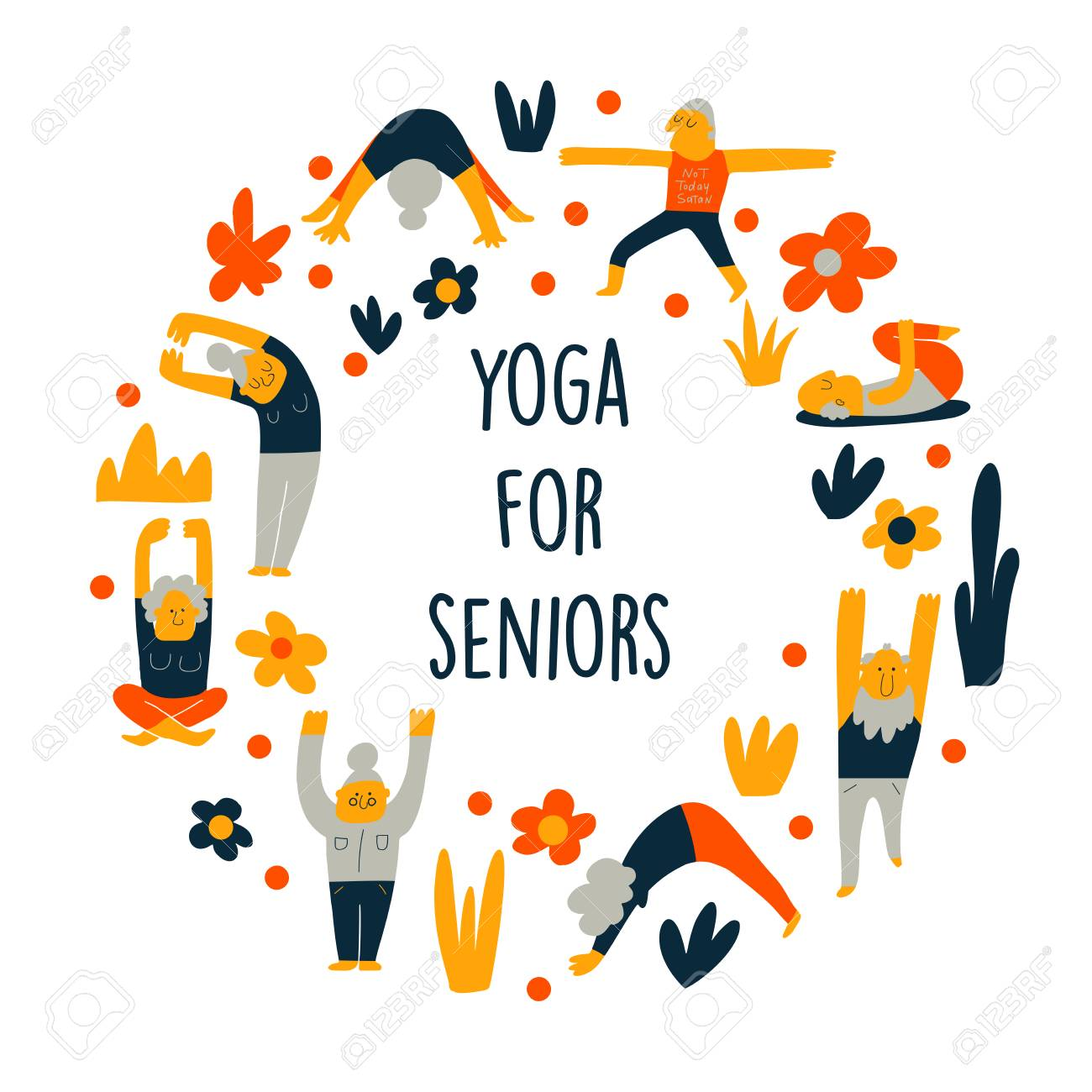 Funny Cartoon Illustration Of Senior People Doing Yoga Exercises Royalty Free Cliparts Vectors And Stock Illustration Image 122884406