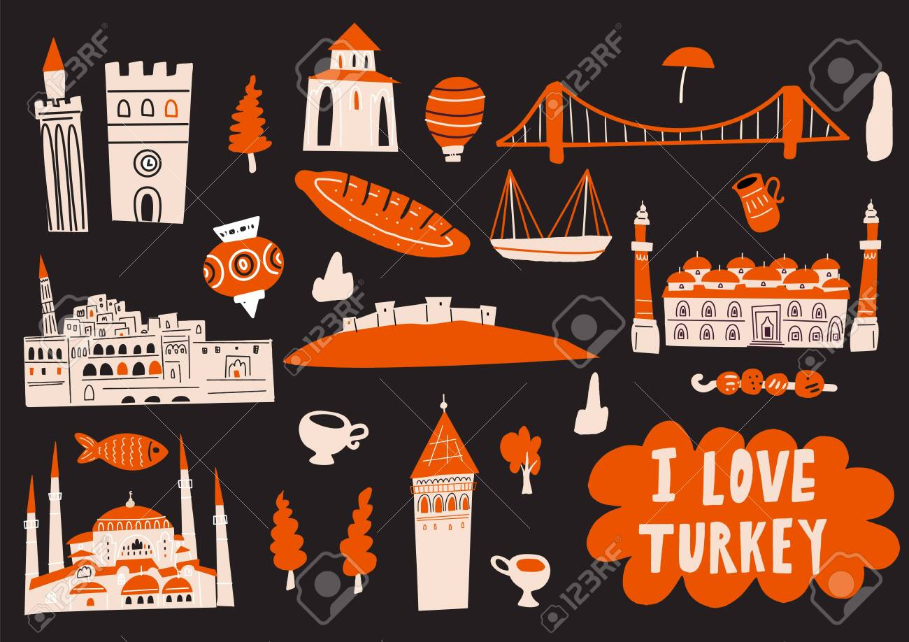 Turkey hand drawn vector illustration with tourist attractions, symbols and landmarks. I love Turkey. Horizontal greeting card. - 145698322