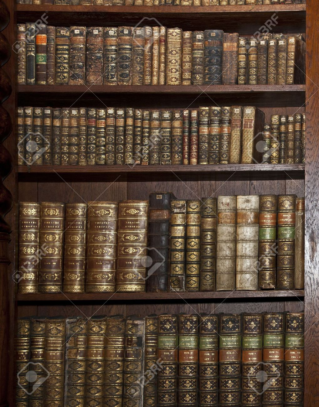 Historic Old Books In Old Shelf Library Stock Photo Picture And - Old book case