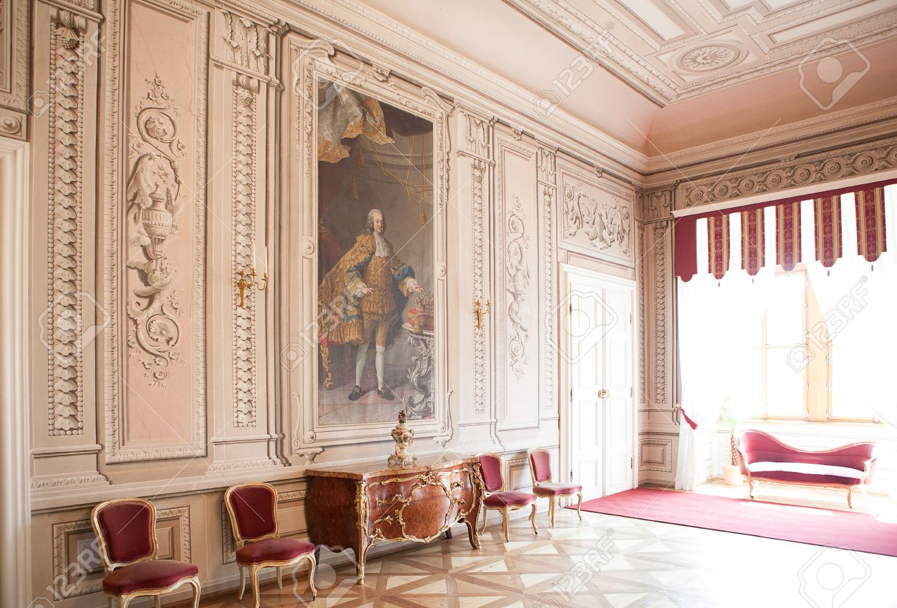 Luxury Interior Chateau In Europe, Old Furniture And Big Painting Stock  Photo   30427028