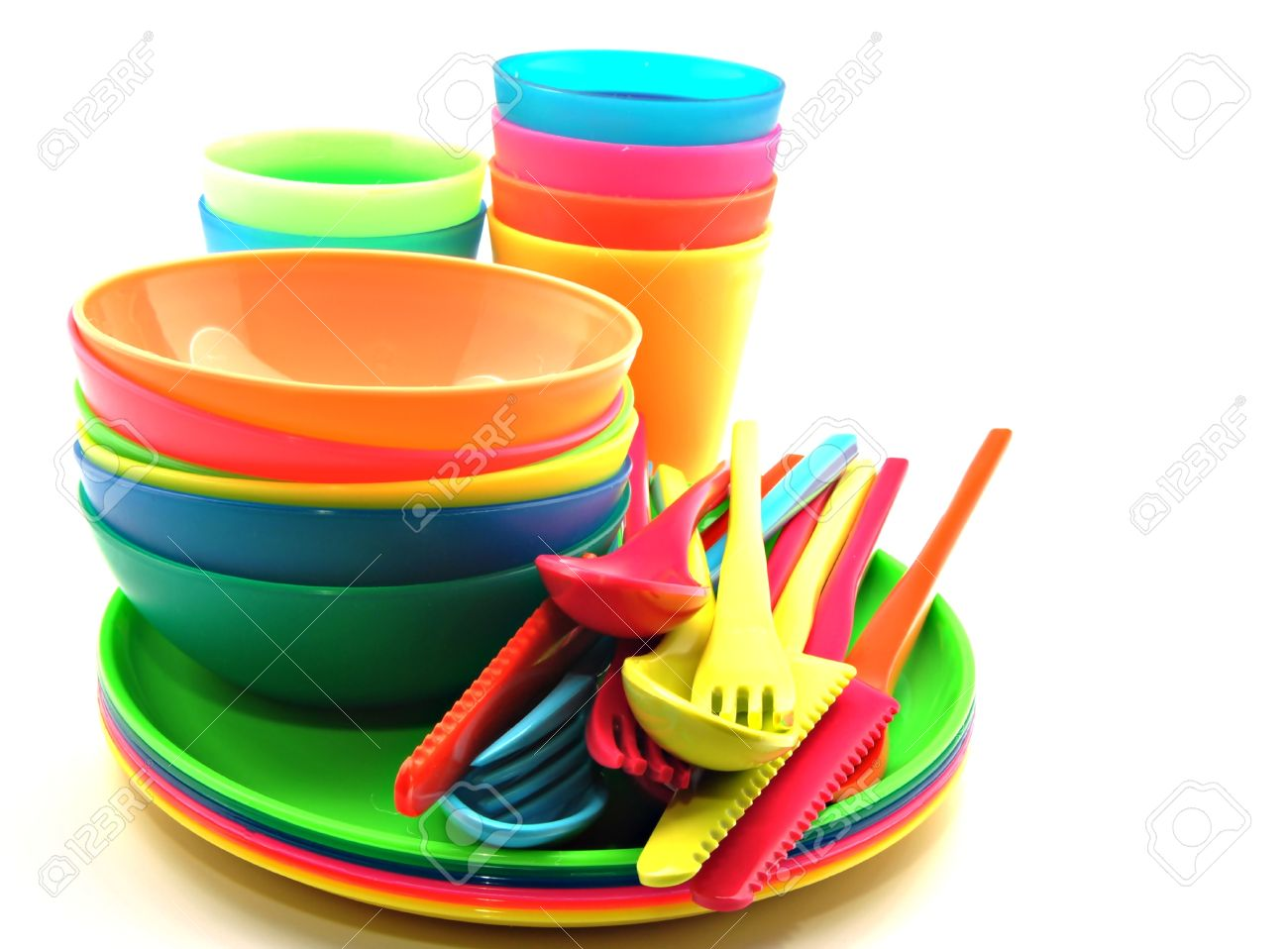 Plastic tableware consisting of cutlery plates and bowls Stock Photo - 12267674  sc 1 st  123RF.com & Plastic Tableware Consisting Of Cutlery Plates And Bowls Stock ...