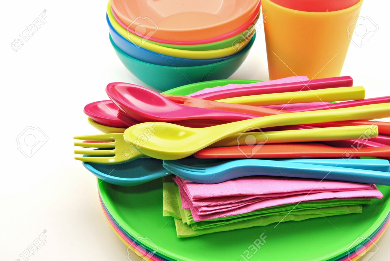 Plastic tableware consisting of cutlery plates and bowls Stock Photo - 12267690  sc 1 st  123RF Stock Photo & Plastic Tableware Consisting Of Cutlery Plates And Bowls Stock ...