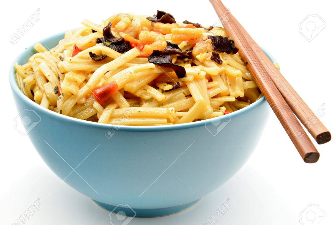 Typical Japanese paste in a bowl surrounded by white background with chopsticks Stock Photo - 13206518