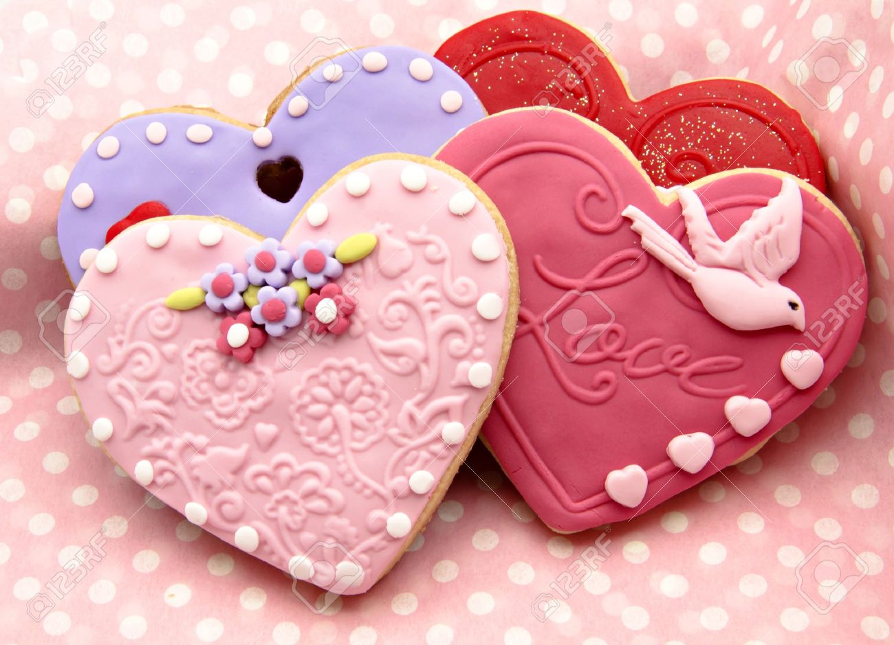 valentine cookies decorated with heart shape stock photo 17379206