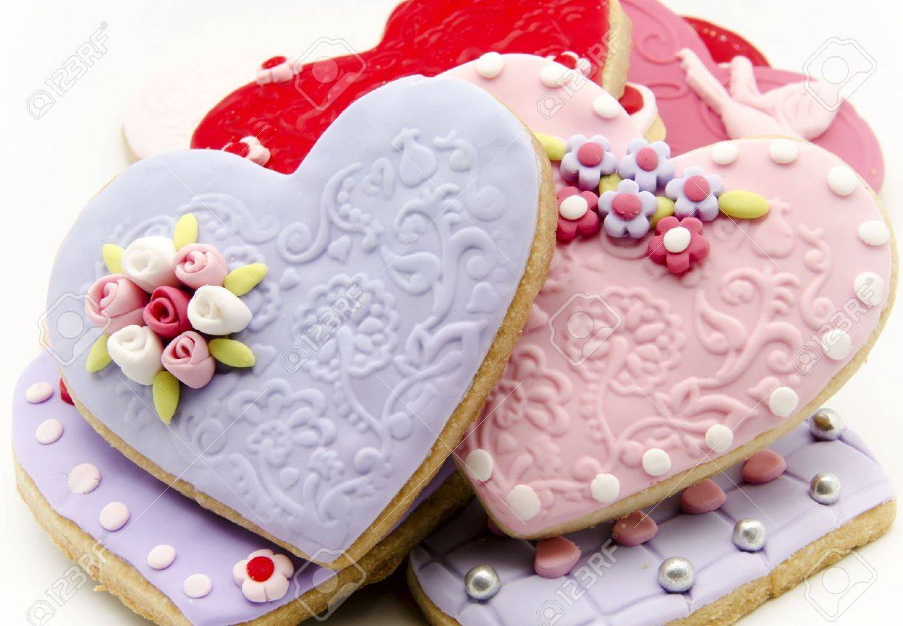 valentine cookies decorated with heart shape stock photo 17379170 - Decorated Valentine Cookies