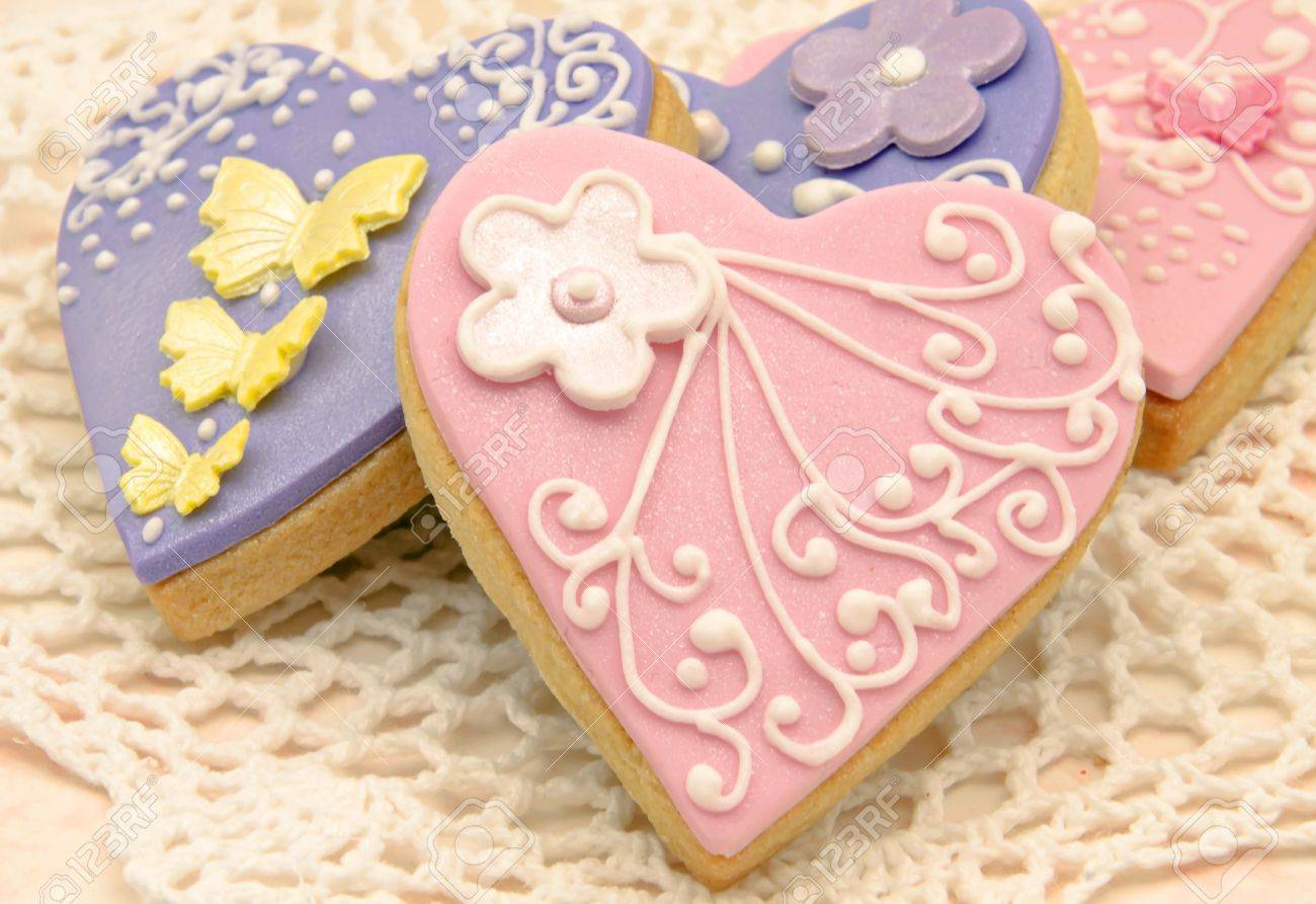 Valentine Cookies Decorated With Heart Shape Stock Photo, Picture ...
