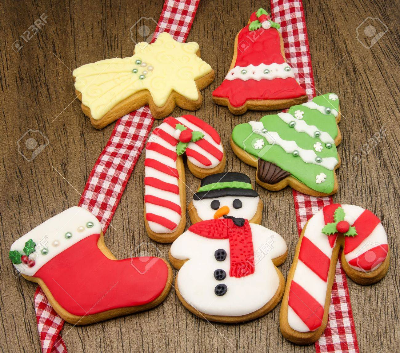 christmas cookies decorated with fondant stock photo 31447705