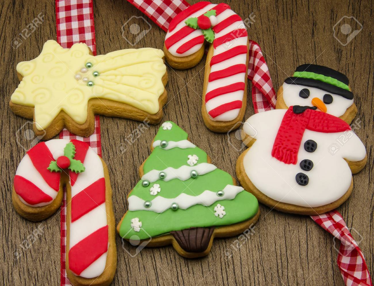 christmas cookies decorated with fondant stock photo 31447709