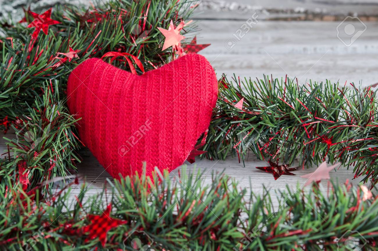 Christmas Ornaments Tinsel And Red Hearts Fabric