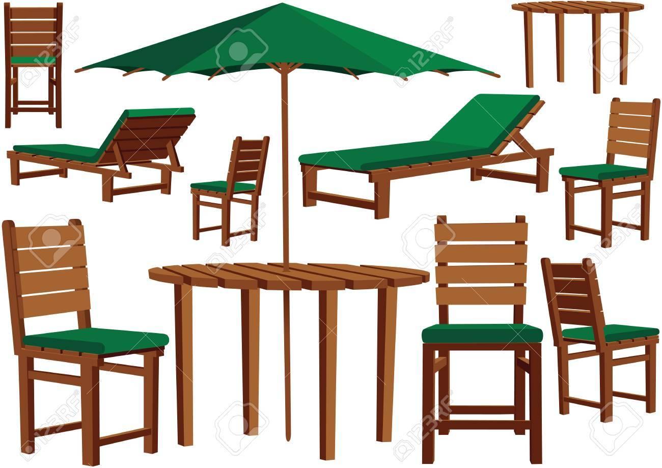 Ilustraciones De Muebles De Jardín De Madera Para Cualquier Terraza