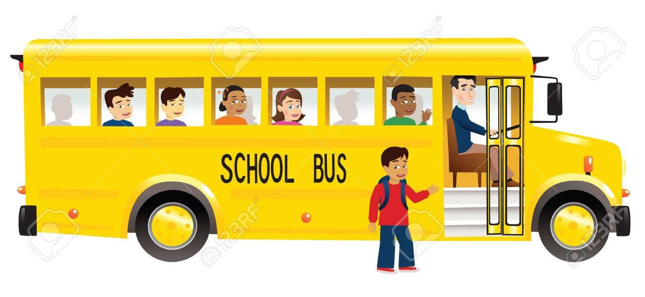 子供を拾って黄色いスクールバスのイラストのイラスト素材ベクタ