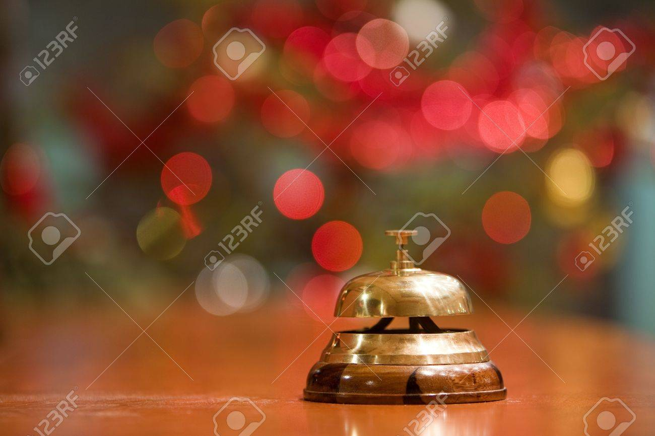 old hotel bell on a wood stand at Christmas holyday - 11233666