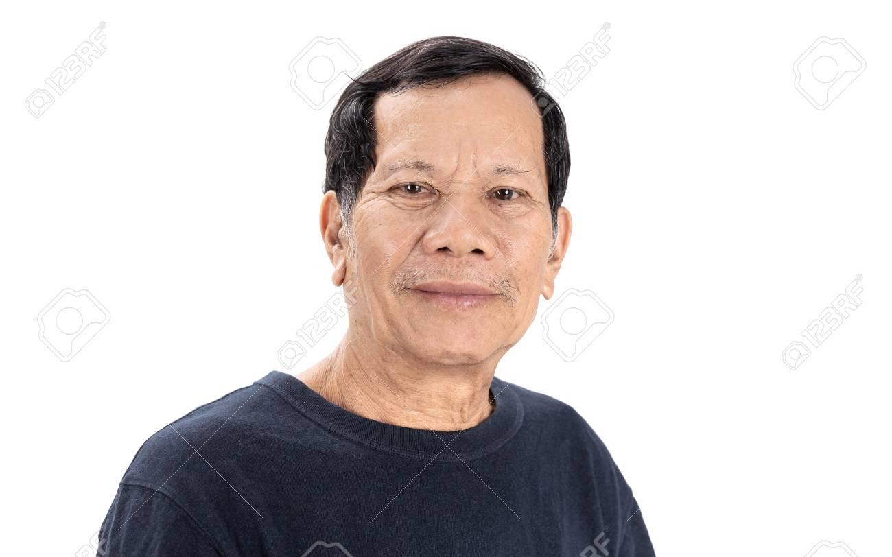 old wrinkled asian man portrait with good mood and wear navy blue T-shirt isolated on white background - 125397316
