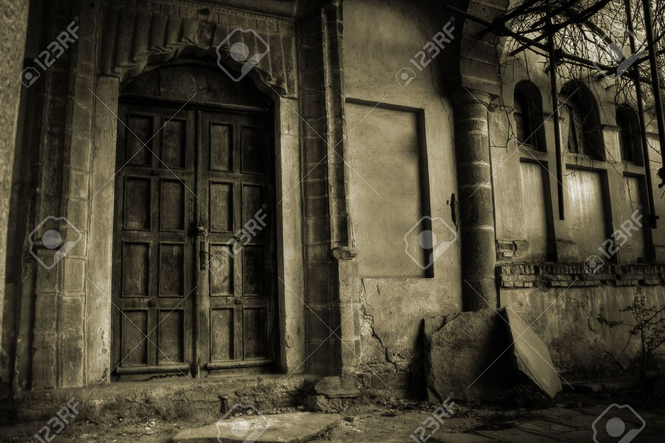 Front Of A Creepy Old House Vintage Version Stock Photo Picture