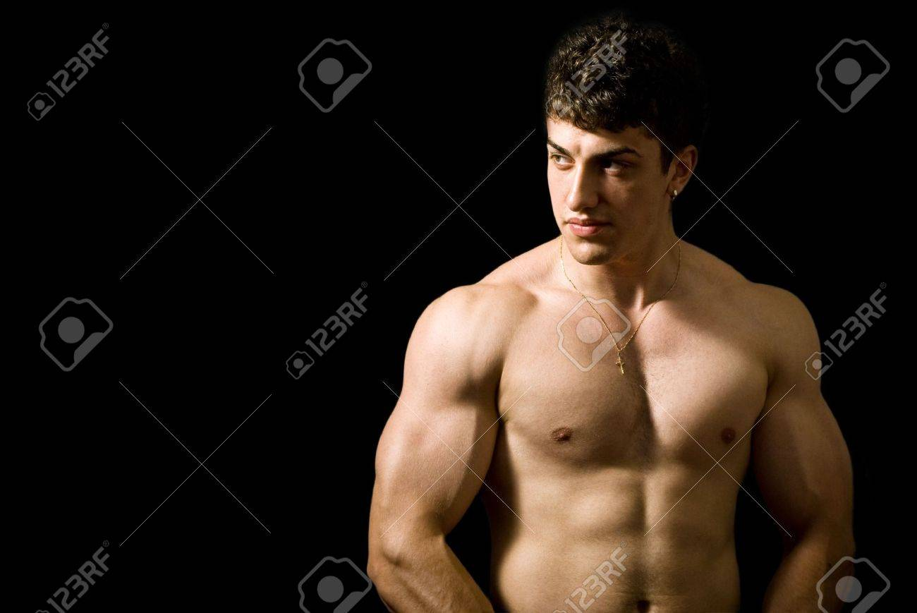 Portrait of handsome muscular man on black background Stock Photo - 3819179