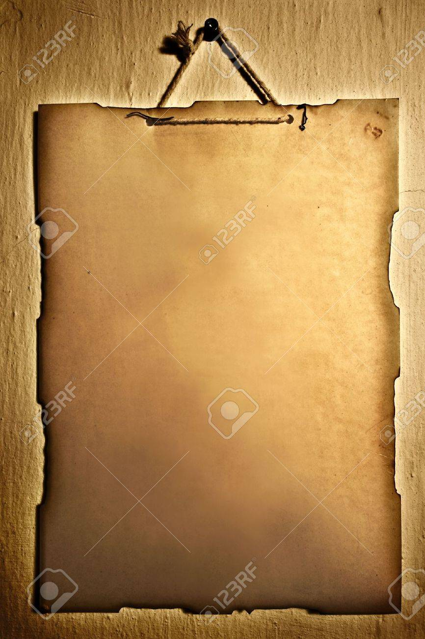 Old paper hanged on a wall (lots of room for text) Stock Photo - 3842467
