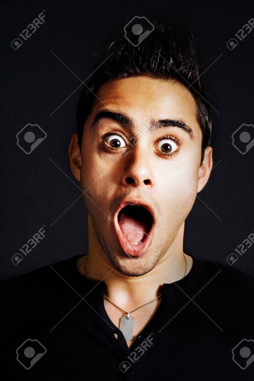 Surprise concept - portrait of amazed funny man Stock Photo - 4614656