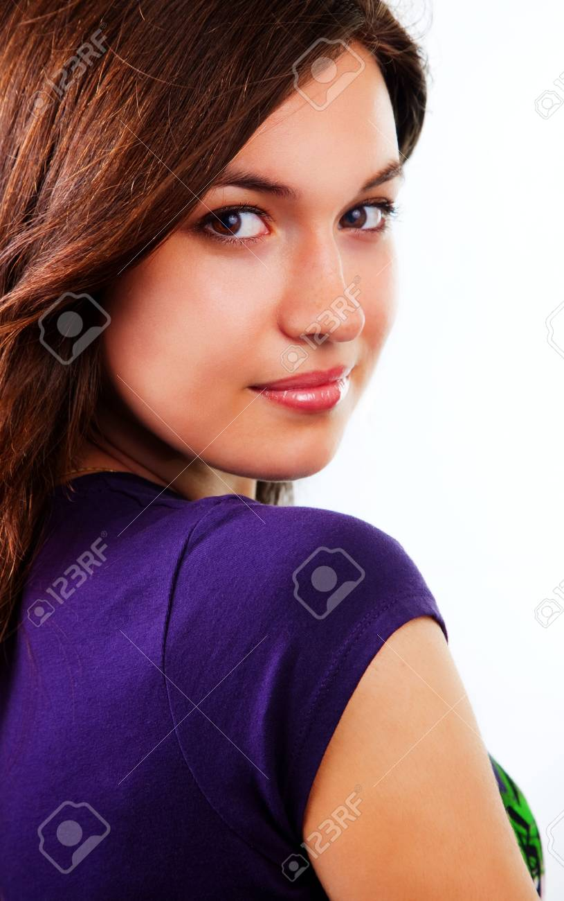Sensual beautiful woman with clean skin on white Stock Photo - 4872242