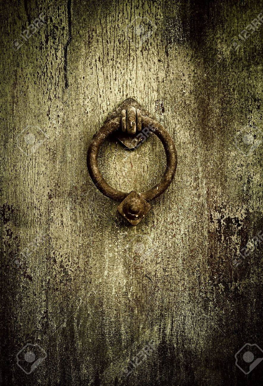Grunge Medieval Background   Rusty Antique Door Knocker Stock Photo    4880615