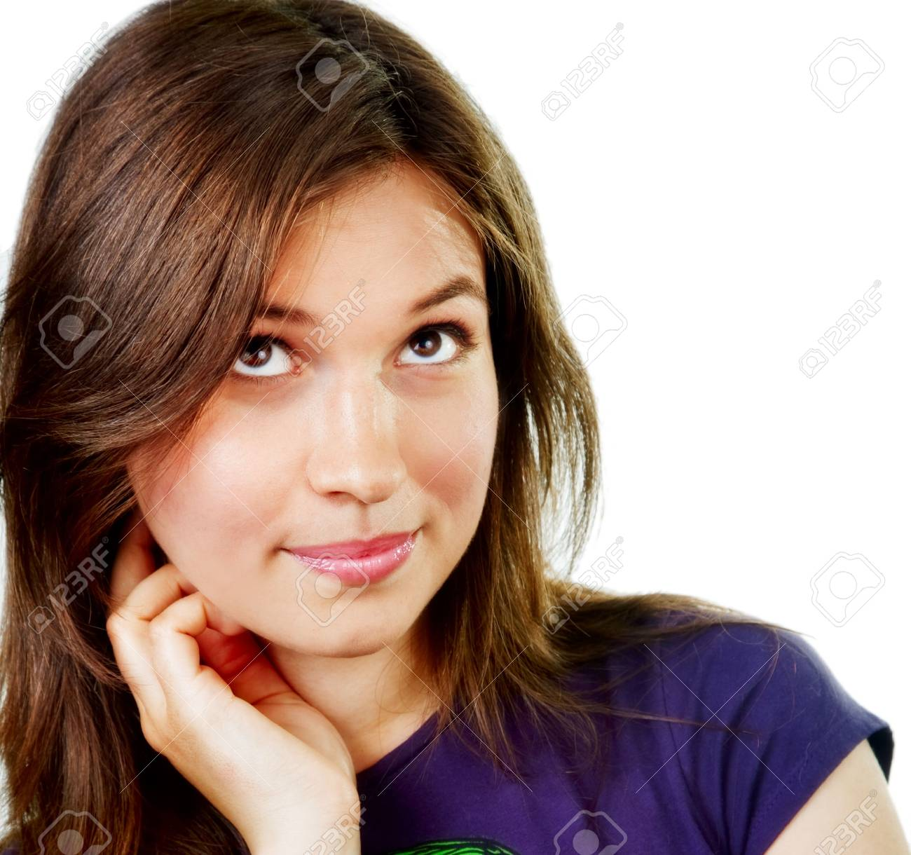 One pensive and creative young woman over white Stock Photo - 5812554