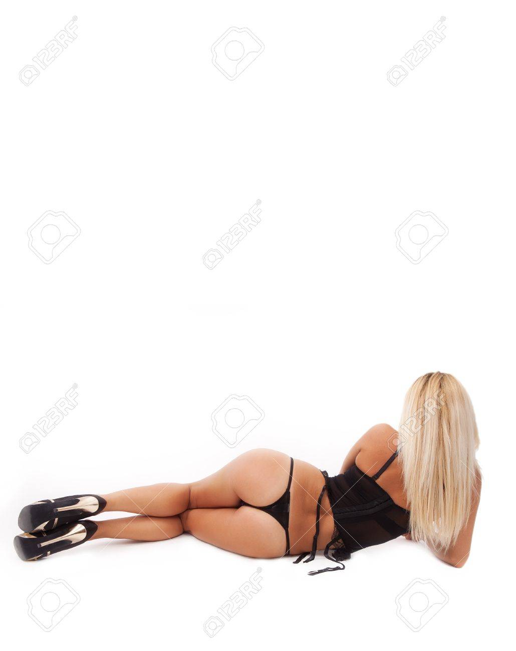 Back of blonde with sexy body and ass isolated on white Stock Photo - 8305712
