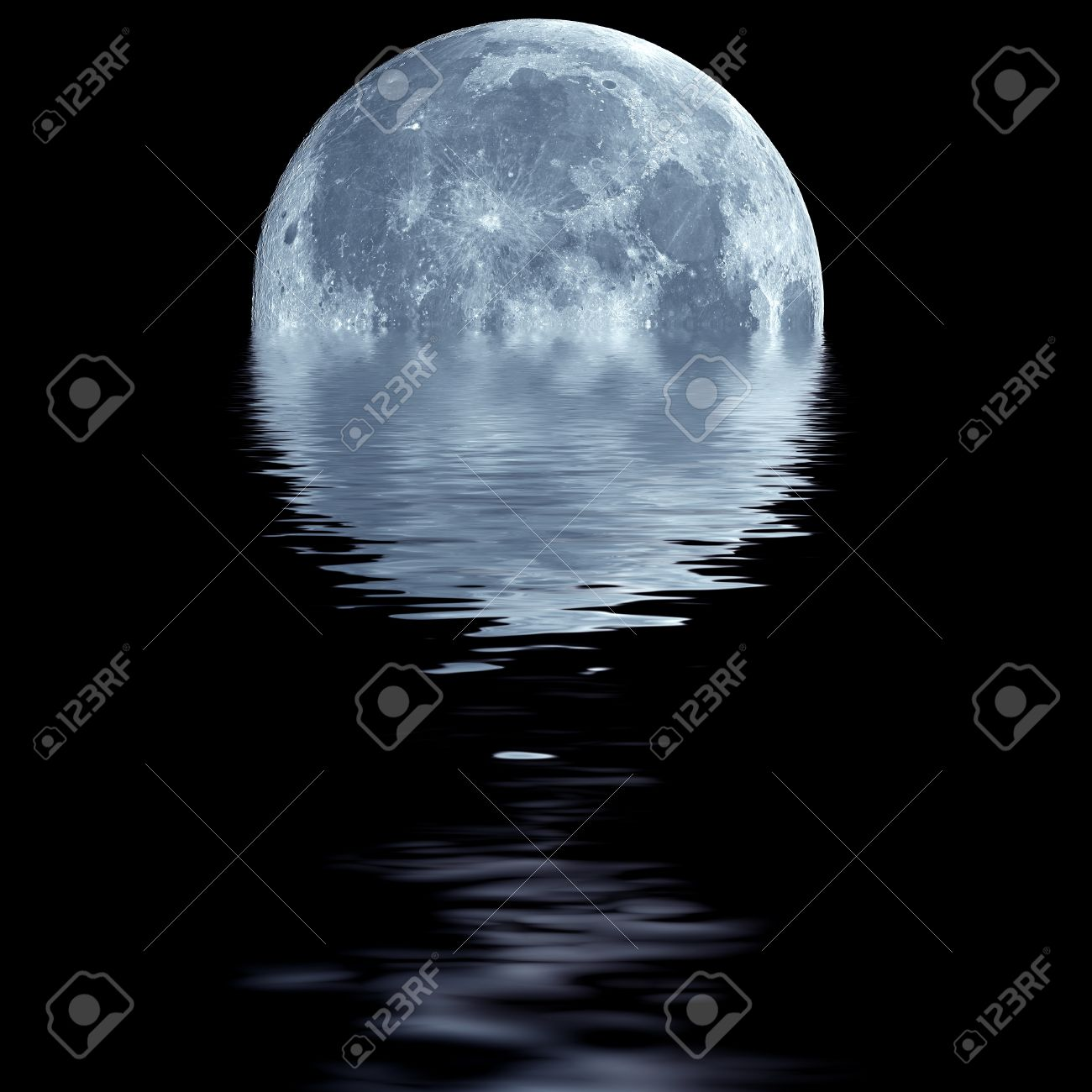 Fantasy Wallpaper Of Blue Moon Over Water Stock Photo