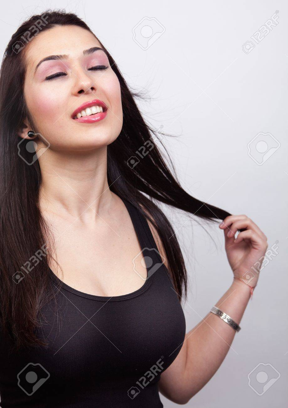 Sexy young woman with long dark hair Stock Photo - 13074036