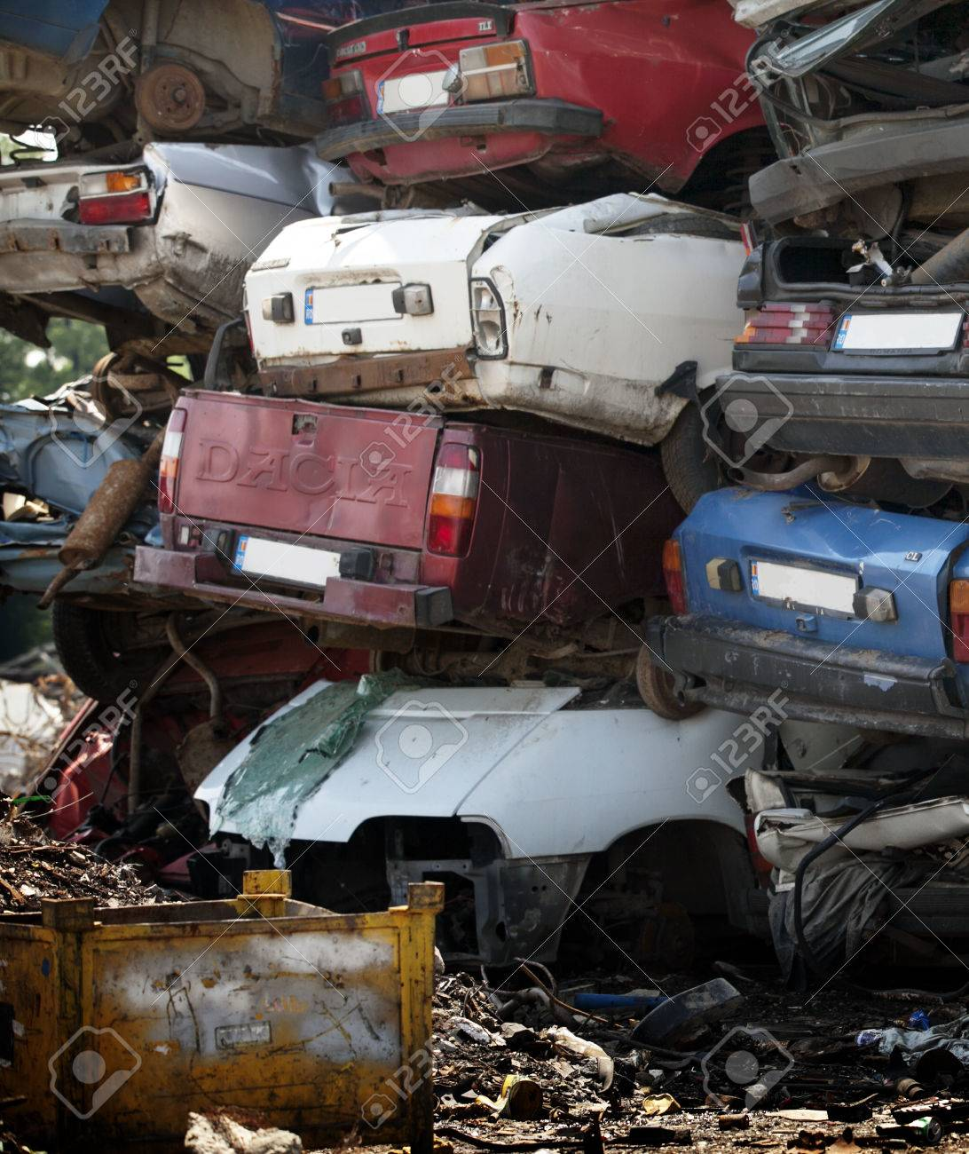 Car Cemetery - Pile Of Old Rusty Damaged Cars Stock Photo, Picture ...