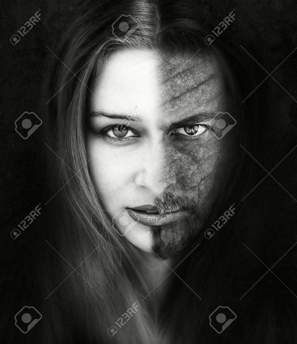 Innocence versus evil. Beautiful and ugly. Bad or good. Beauty and the beast conceptual portrait Stock Photo - 55802641