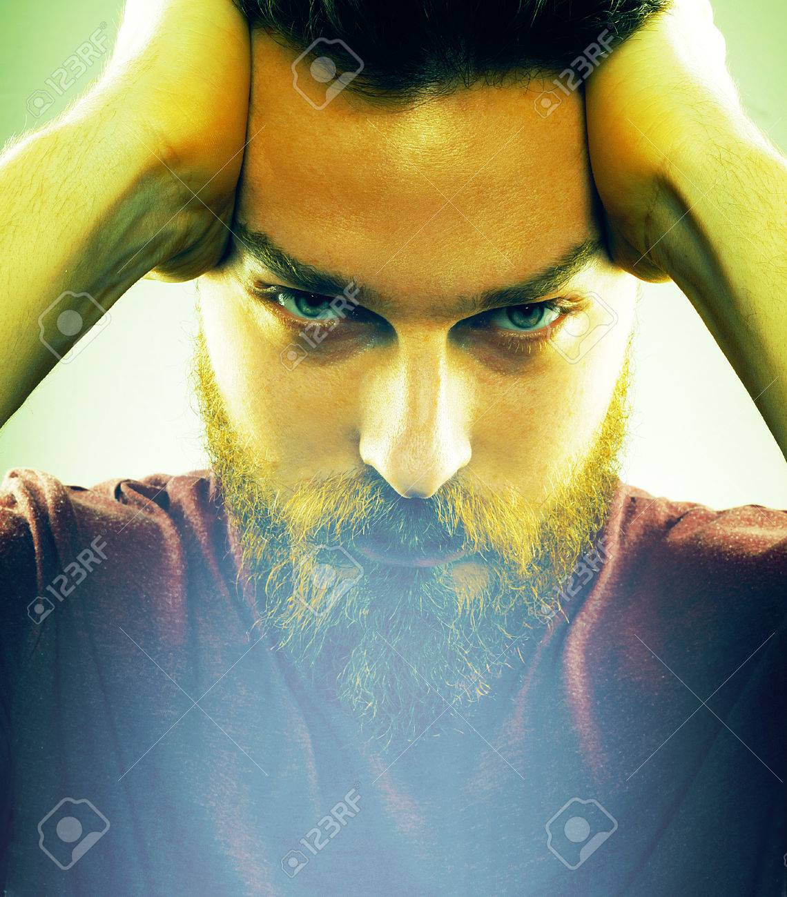Face of handsome young man with hipster style beard Stock Photo - 74890216