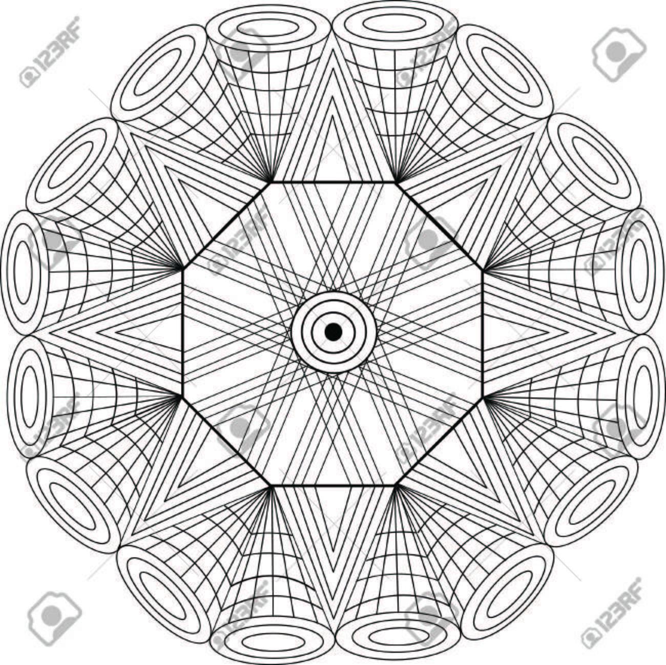 Arte Diseño Geométrico De La Mandala Para Colorear Ilustraciones ...