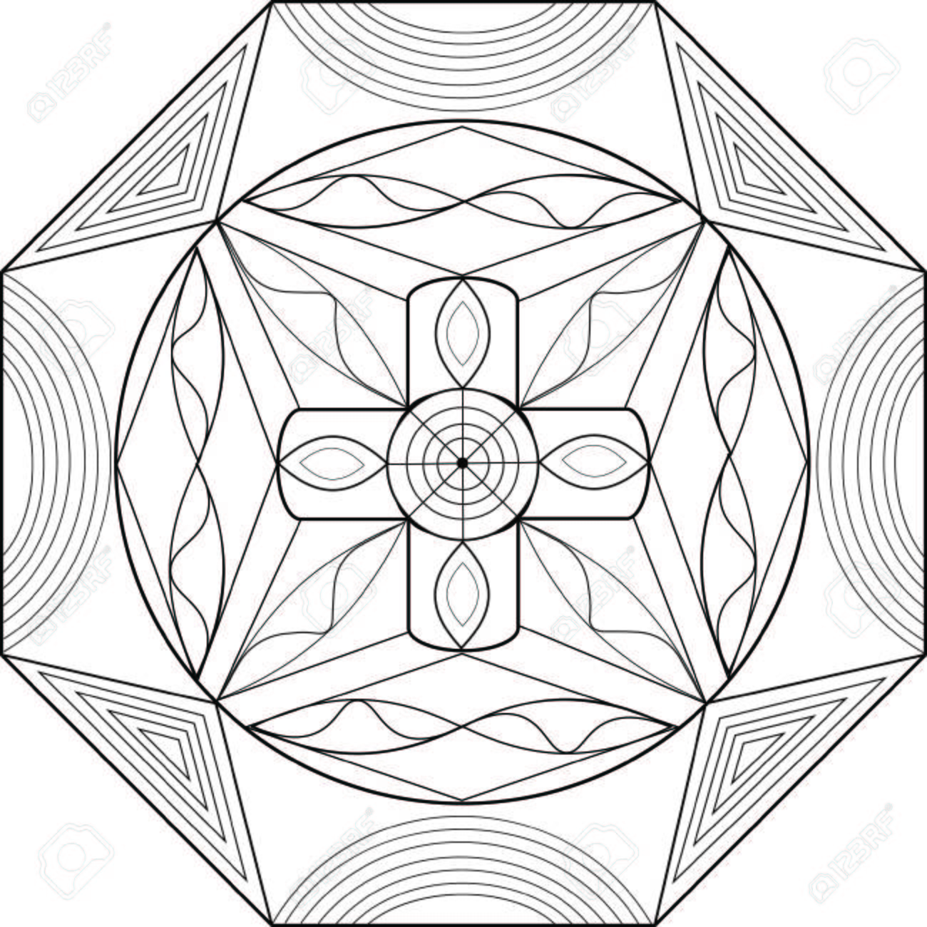 Geometric Illustration And With Patterns Visual Effects For Coloring Books Stock Vector