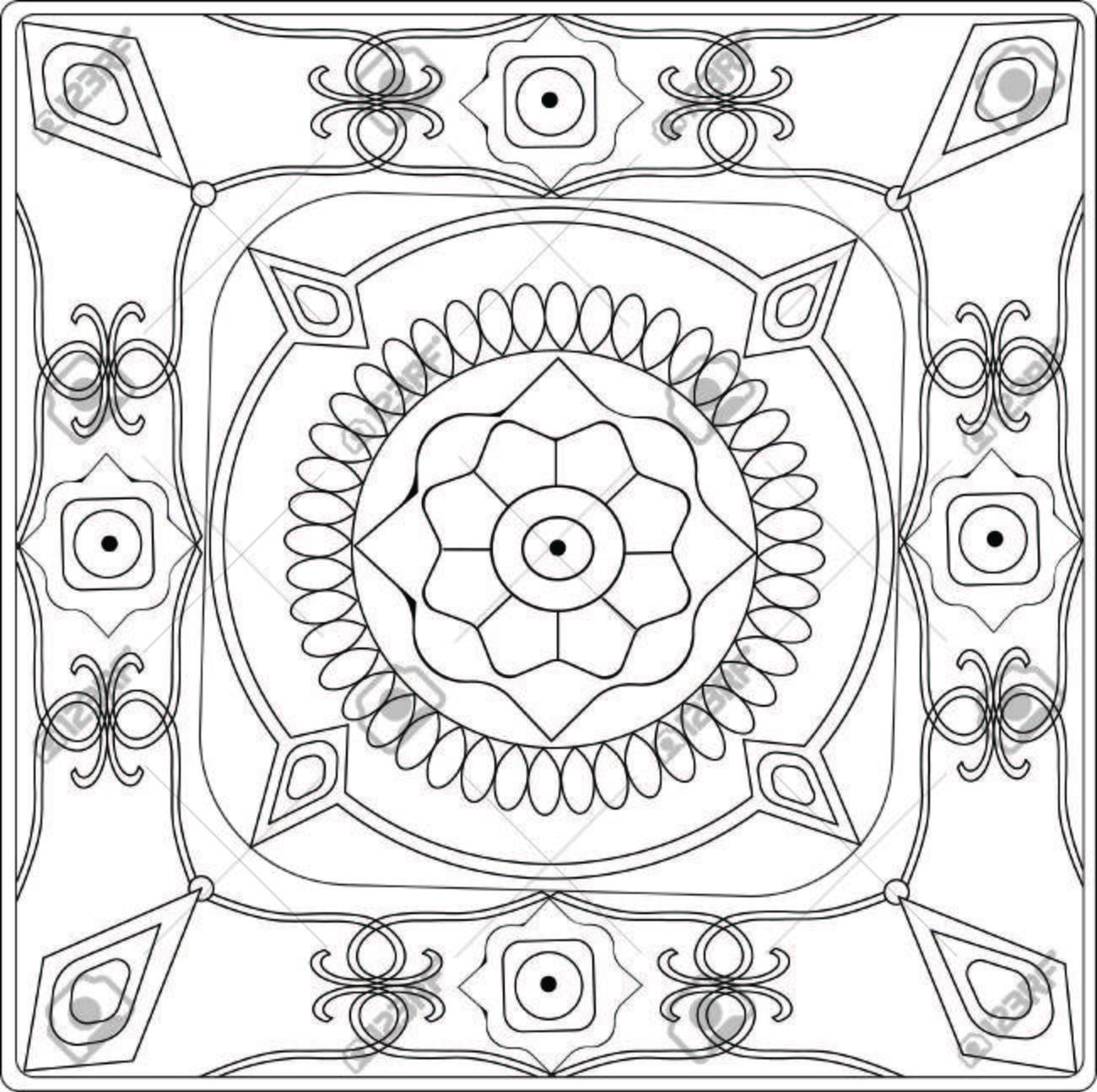 Mosaico Ilustración De Libro Para Colorear Con Dibujos Geométricos Y ...