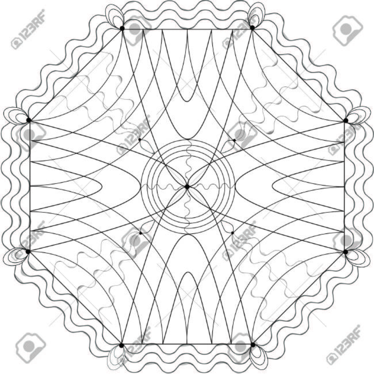 Illustration With Geometric Patterns For Coloring Book Royalty Free ...