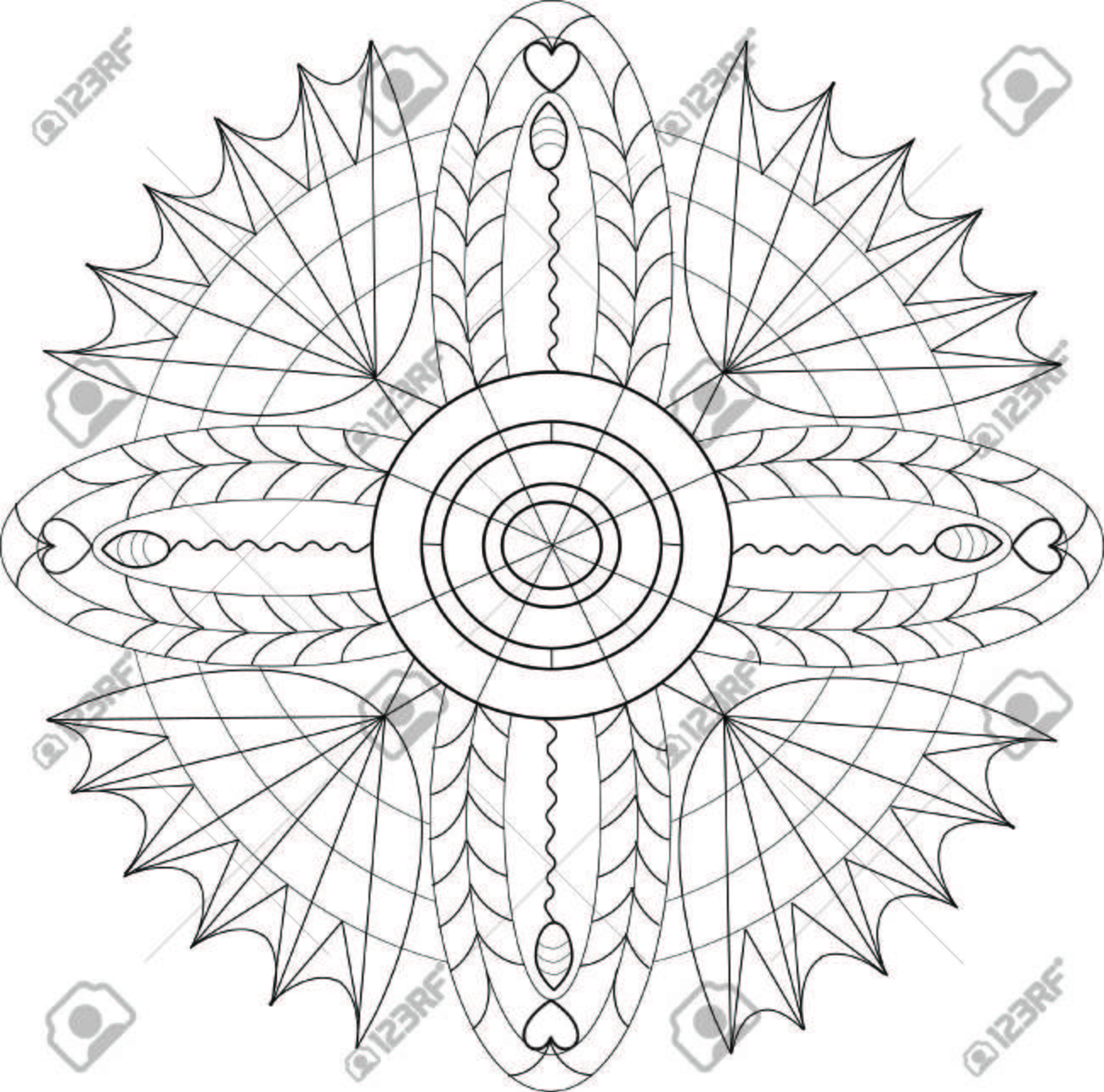 Illustration Mandala For Coloring Books With Patterns, Hearts ...