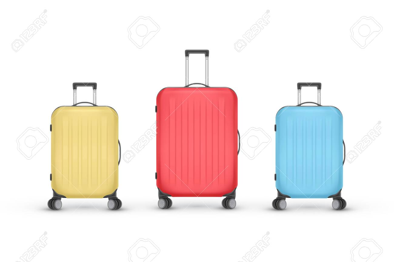 Set of realistic plastic suitcases. Travel bag isolated on white background, vector Illustration - 148468307