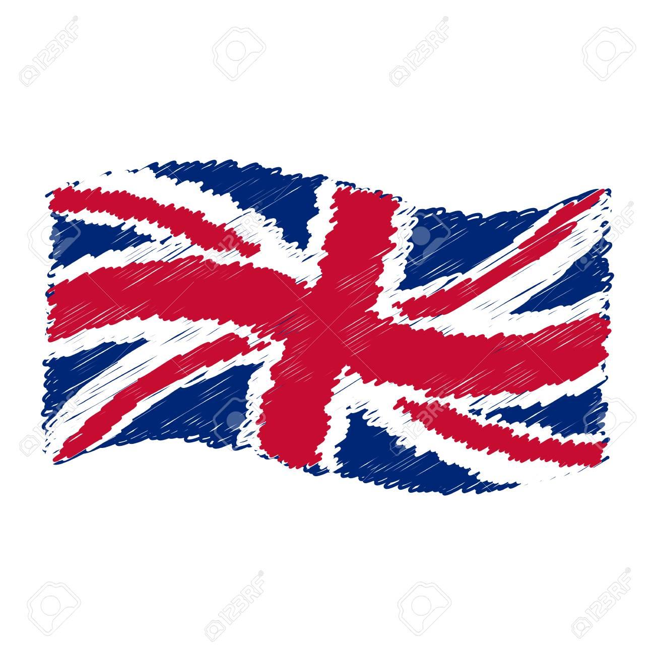 Bandera Del Reino Unido Union Jack Dibujo A Lápiz Grunge Dibujar