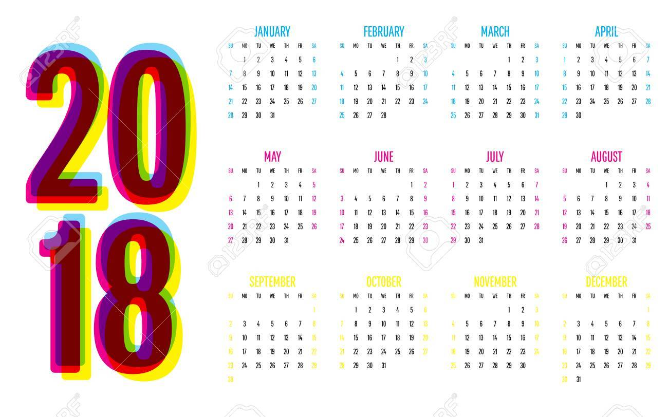 2018 calendar vector illustration simple clear week start from sunday stock vector 89547719