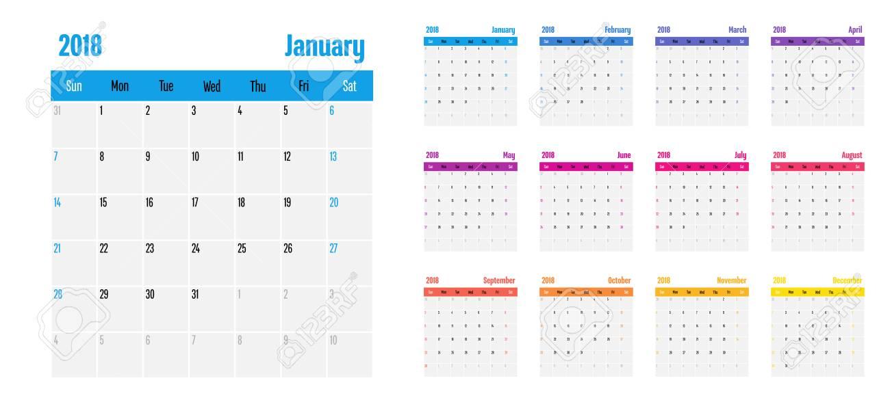 2018 calendar planner memo design template vector illustration