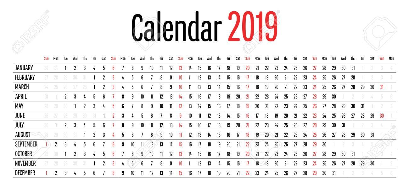 2019 Calendar Horizontal 2019 Calendar Design Horizontal Dimension Template Simple Clear