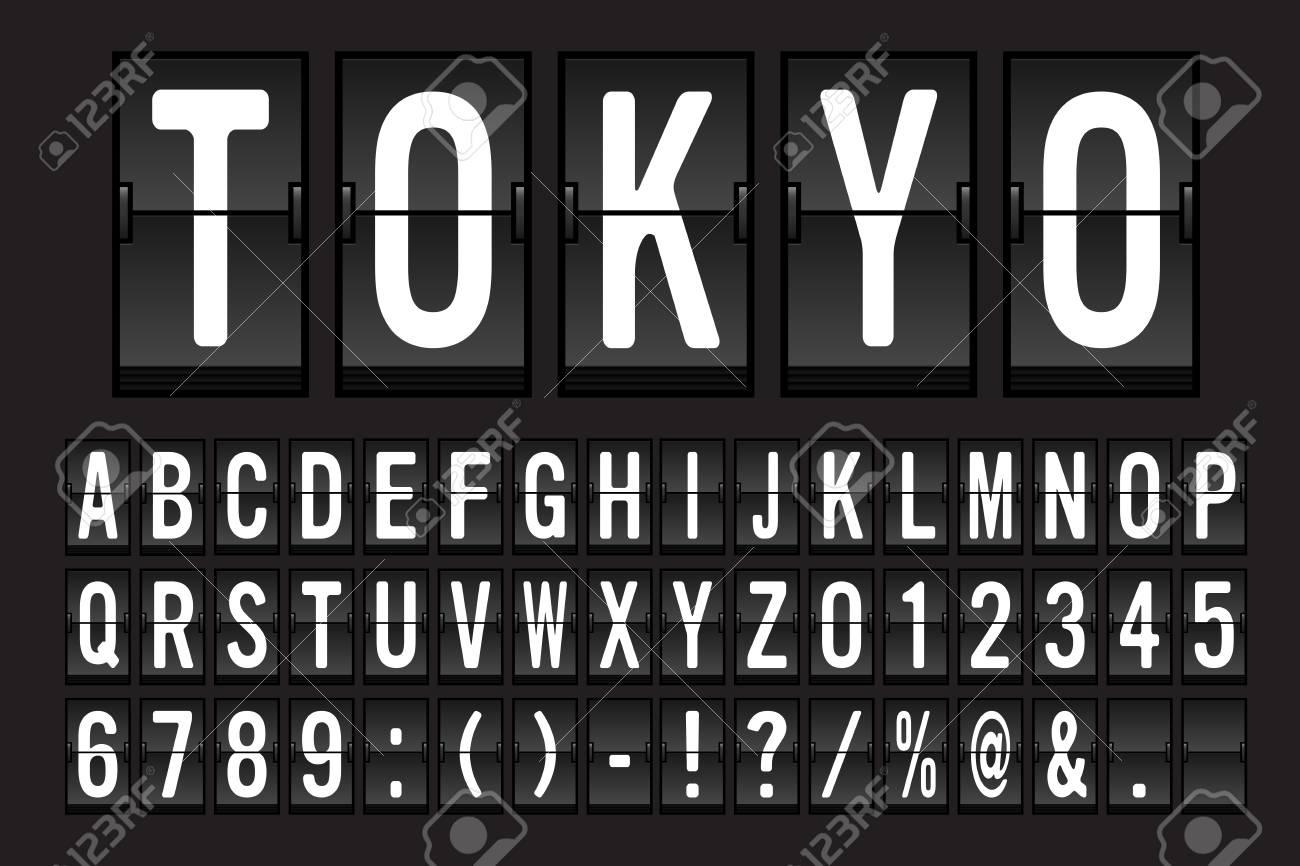 Airport Mechanical Flip Board Panel Font - White Font on Dark Background Vector Illustration - 99436490