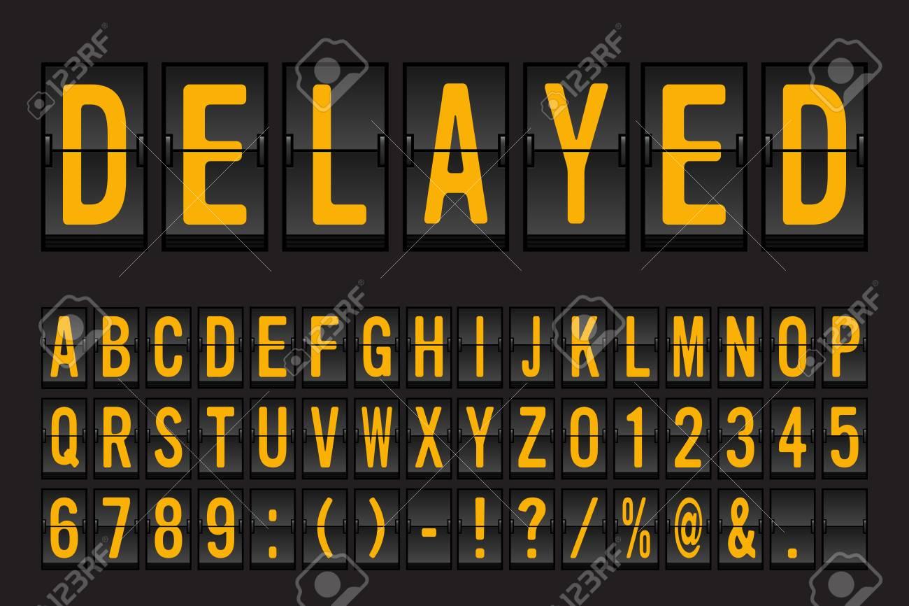 Airport Mechanical Flip Board Panel Font - Yellow Font on Dark Background Vector Illustration - 99921547