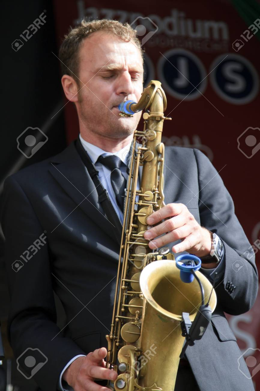 DORDRECHT, NETHERLANDS - JULY 15: Jeroen van Genuchten performing live on stage for The Jig at the Big Rivers Festival on Sunday 15 July 2012 in Dordrecht. Stock Photo - 14466722